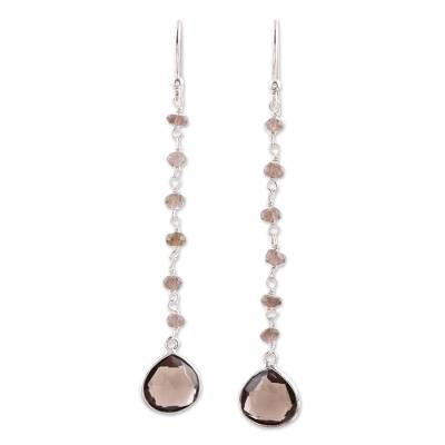 Smoky quartz dangle earrings, 'Morning Drops' - 4 Carat Smoky Quartz Dangle Earrings from India