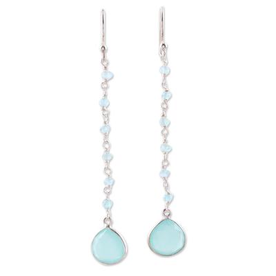 Chalcedony dangle earrings, 'Morning Drops' - 4 Carat Chalcedony Dangle Earrings from India