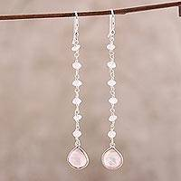 Rose quartz dangle earrings, 'Morning Drops' - 4-Carat Rose Quartz Dangle Earrings from India