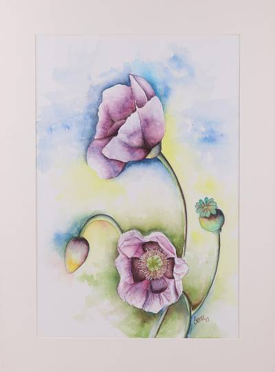 'Purple Passion' - Signed Realist Painting of Purple Flowers from India