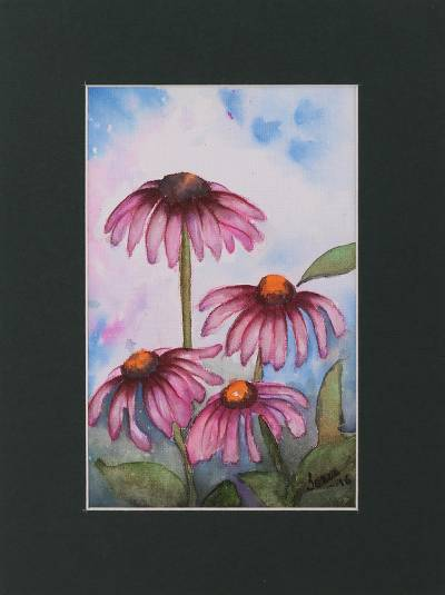 'Daisy Delight' - Signed Realist Painting of Pink Daisies from India