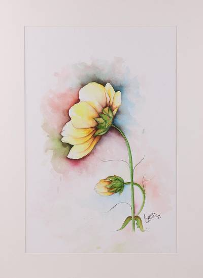 'Yellow Wonder' - Signed Realist Painting of a Yellow Flower from India