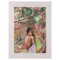 'Forest Beauty' - Signed Realist Painting of a Woman Beneath a Tree from India