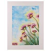 'Pink Daisy' - Signed Realist Daisy Flower Painting from India