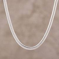 Sterling silver chain necklace, 'Omega Appeal' - Sterling Silver Omega Chain Necklace from India