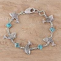 Sterling silver and composite turquoise link bracelet, 'Fish Delight' - Sterling Silver and Composite Turquoise Fish Bracelet