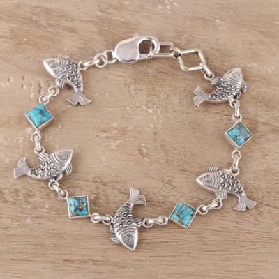 Sterling silver and composite turquoise link bracelet, Fish Delight