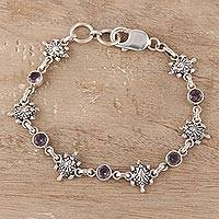 Amethyst link bracelet, 'Turtle Essence' - Amethyst Turtle Dangle Earrings from India