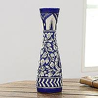 Ceramic decorative vase, 'Royal Garden in Blue' - Blue Ceramic Decorative Vase with Leaf Motifs from India