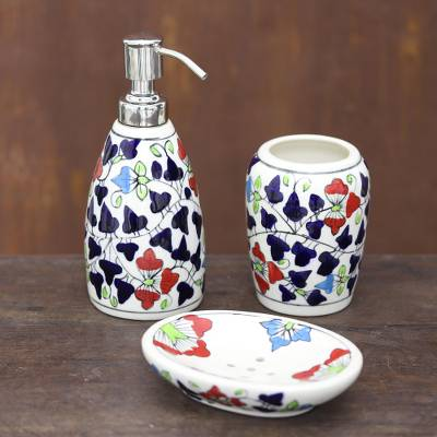 Ceramic bathroom set, 'Spring Delight' (set of 3) - Colorful Floral Ceramic Bathroom Set from India (Set of 3)