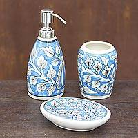 Ceramic bathroom set, 'Sky Garden' (set of 3) - Floral Ceramic Bathroom Set in Light Blue (Set of 3)