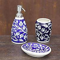 Ceramic bathroom set, 'Dark Blue Garden' (set of 3) - Floral Ceramic Bathroom Set in Dark Blue (Set of 3)
