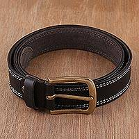 Men's leather belt, 'Classic Onyx' - Handcrafted Men's Leather Belt in Onyx from India