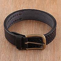 Men's leather belt, 'Onyx Weave' - Men's Patterned Leather Belt in Onyx from India