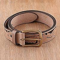Men's leather belt, 'Buff Leaves' - Men's Leaf Pattern Leather Belt in Buff from India