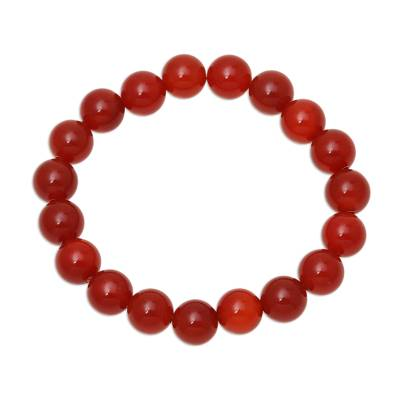 Carnelian beaded stretch bracelet, 'Gorgeous Fire' - Natural Carnelian Beaded Stretch Bracelet from India