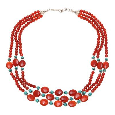 Carnelian and Calcite Beaded Strand Necklace from India