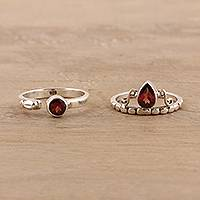 Garnet rings, 'Glittering Harmony' (pair) - Faceted Garnet Rings from India (Pair)