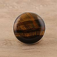 Men's tiger's eye ring, 'Earthen Circle'