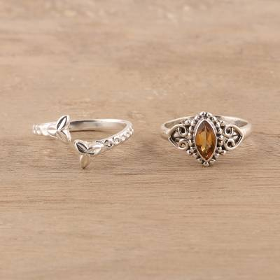 Citrine and sterling silver rings, 'Golden Glory' (pair) - Citrine and Sterling Silver Rings from India (Pair)