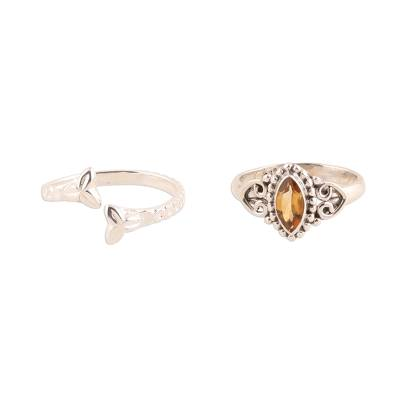 Citrine and Sterling Silver Rings from India (Pair)