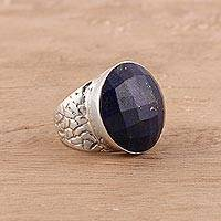 Men's lapis lazuli ring, 'Royal Facets' - Men's 12-Carat Lapis Lazuli Ring from India