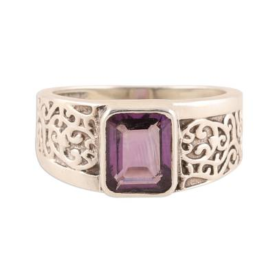 Amethyst ring, 'Purple Glisten' - Sparkling Amethyst Ring from India