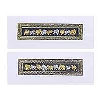 Diptych, 'Triple Stride' - Metallic Animal-Themed Folk Art Diptych from India