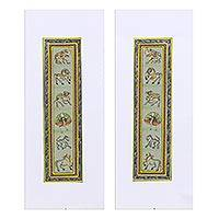 Diptych, 'Royal Beauty II' - Animal-Themed Folk Art Diptych in Green from India