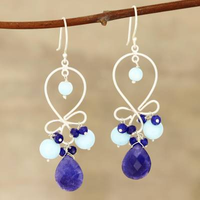 Jade and opal dangle earrings, 'Exotic Loops' - Blue Jade and Opal Dangle Earrings from India