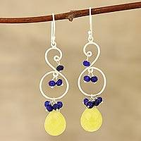 Quartz and jade dangle earrings, 'Swirling Colors' - Yellow Quartz and Blue Jade Dangle Earrings from India