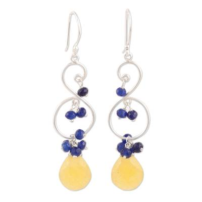 Yellow Quartz and Blue Jade Dangle Earrings from India