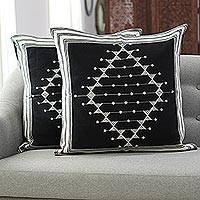 Cotton cushion covers, 'Dark Pattern' (pair) - Geometric Cotton Cushion Covers in Black (Pair)