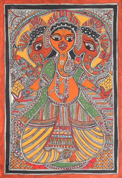 Ganesha-Themed Madhubani Painting from India