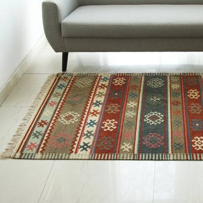Handwoven Multicolored Striped Wool Rug From India 4x6 Nature S Beauty