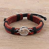 Sterling silver and leather wristband bracelet, 'Spiritual Balance' - Sterling Silver and Leather Yin Yang Wristband Bracelet