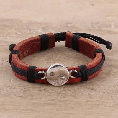 Sterling silver and leather wristband bracelet, Spiritual Balance