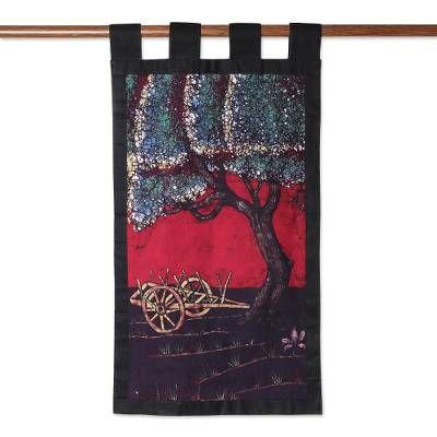 Batik cotton wall hanging, 'Spring Village Scene' - Village Scene Batik Cotton Wall Hanging from India