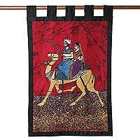 Batik cotton wall hanging, 'King of Rajasthan' - Royal Batik Cotton Wall Hanging from India