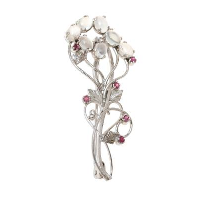 Rhodium Plated Moonstone and Ruby Brooch from India