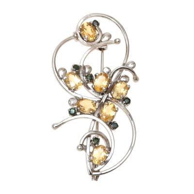 Rhodium Plated Citrine and Emerald Brooch from India
