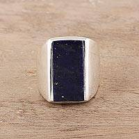 Men's lapis lazuli ring, 'Blue Obelisk' - Men's Lapis Lazuli Ring Crafted in India