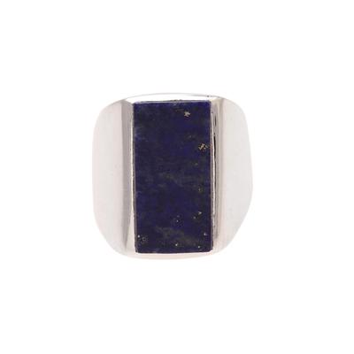 Men's lapis lazuli ring, 'Blue Obelisk' - Men's Lapis Lazuli Ring Crafted in India