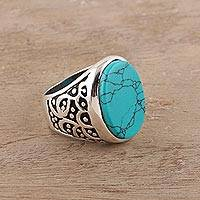 Men's sterling silver and reconstituted turquoise ring, 'Turquoise Vibe' - Men's Sterling Silver and Oval Recon. Turquoise Ring