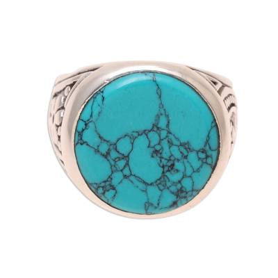 Men's sterling silver and reconstituted turquoise ring, 'Circular Vein' - Men's Sterling Silver and Circular Recon. Turquoise Ring