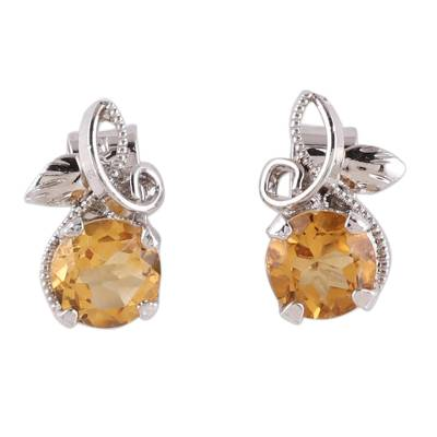 Citrine Stud Earrings Plated in Rhodium from India
