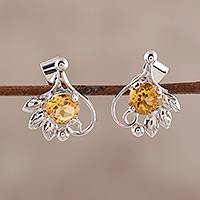 Rhodium plated citrine stud earrings, 'Sunny Leaves' - Leafy Rhodium Plated Citrine Stud Earrings from India
