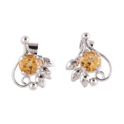 Rhodium plated citrine stud earrings, 'Sunny Leaves' - Leafy Rhodium Plated Citrine Stud Earrings from India