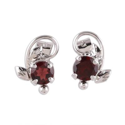 Rhodium plated garnet stud earrings, 'Blissful Radiance' - Leafy Rhodium Plated Garnet Stud Earrings from India
