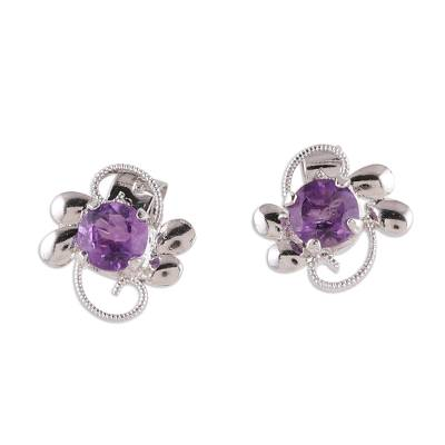 Rhodium plated amethyst stud earrings, 'Glittering Purple Charm' - Rhodium Plated Amethyst Stud Earrings from India